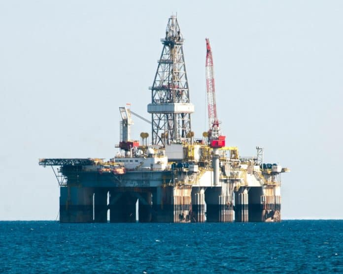 Oil Rig Drilling Platform in mediterranean sea