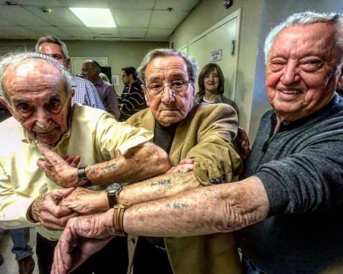 holocaust-survivors-in-the-same-line-at-auschwitz-meet-72-years-later