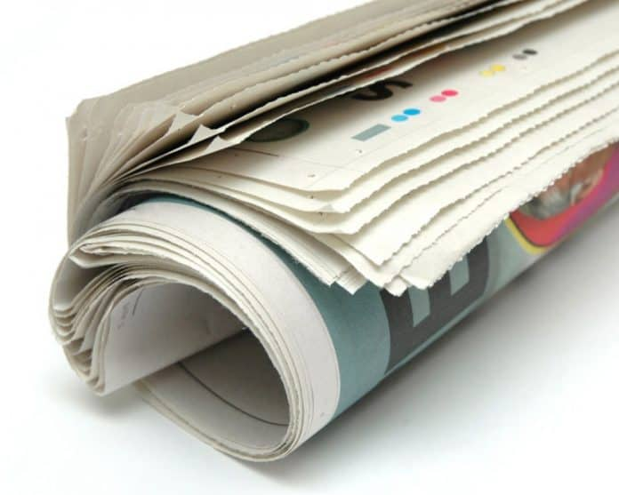newspaper rolled