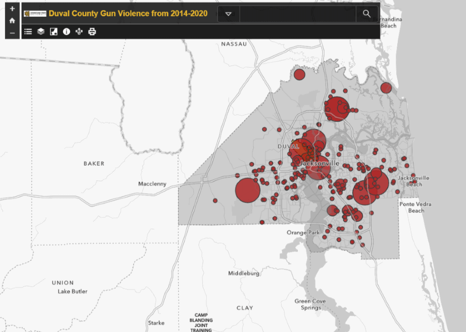 Duval Gun Violence from 2014-2020 Map