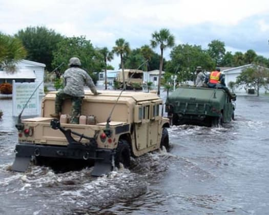The Hurriane Brigade in action during a recent storm in the Southeast.